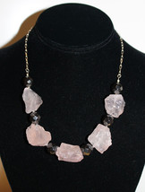 Original Pink Quartz and Hematite Bib Necklace - $50.00