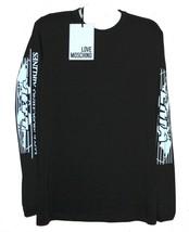 Love Moschino Men's Black White Text Cotton Blend Sweater Shirt Size 2XL... - $93.11