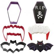 Wilton Halloween Cookie Cutters 3 pc Set R.I.P. Coffin Vampire Fangs Bat... - $9.72