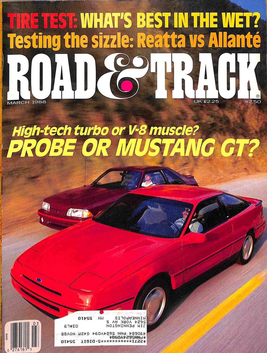 Road and Track, March 1988 - Magazine Back Issues