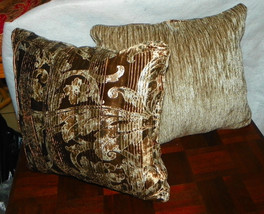 Pair of Taupe Brown Decorative Print Throw Pillows  18 x 18 - $59.95