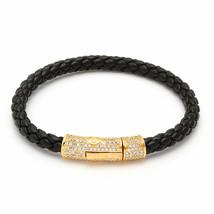 King Ice 18K Gold Plated Cylinder Black Studded Italian Leather Rope Bracelet