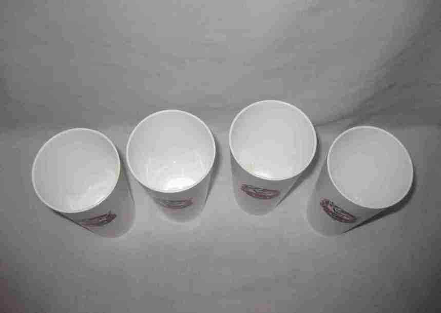 "Neat Vintage Set Of 4 6"" NFL Superpro White Plastic Tumblers Drinking Glasses"