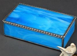 A LIGHT ROYAL BLUE WISPY OPAL JEWELRY BOX WITH A BEAUTIFUL ROAP TWIST ED... - $69.25