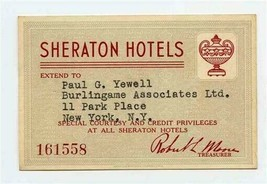 Sheraton Hotels Special Courtesy and Credit Privileges Card 1948-49 - $37.62