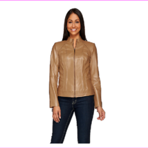 G.I.L.I. Zip Front Leather Jacket with Seaming Detail, Doe, Size 8, MSRP $303 - $122.10