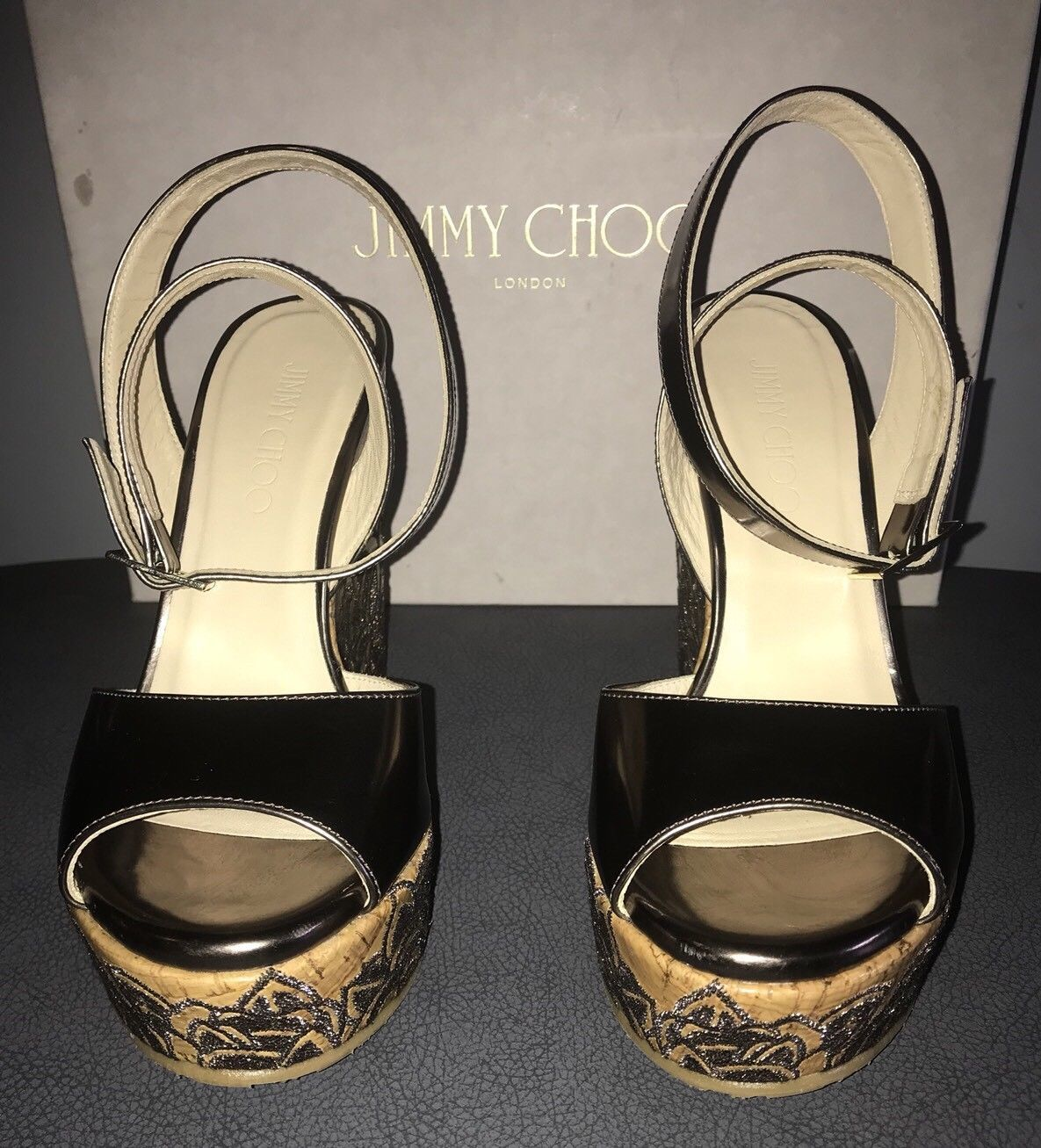 Authentic NIB JIMMY CHOO Patara Leather Cork Wedge Sandals Shoes-Sz:38.5EU/8.5US