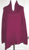 Vince Camuto Cowl Neck Asymmetric Hemline Sweater Mulberry Red L NEW $89... - $23.76