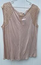 J. Peterman Women M Knit Top Pale Pink Blush Lace Sleeveless Tunic Visco... - $24.99