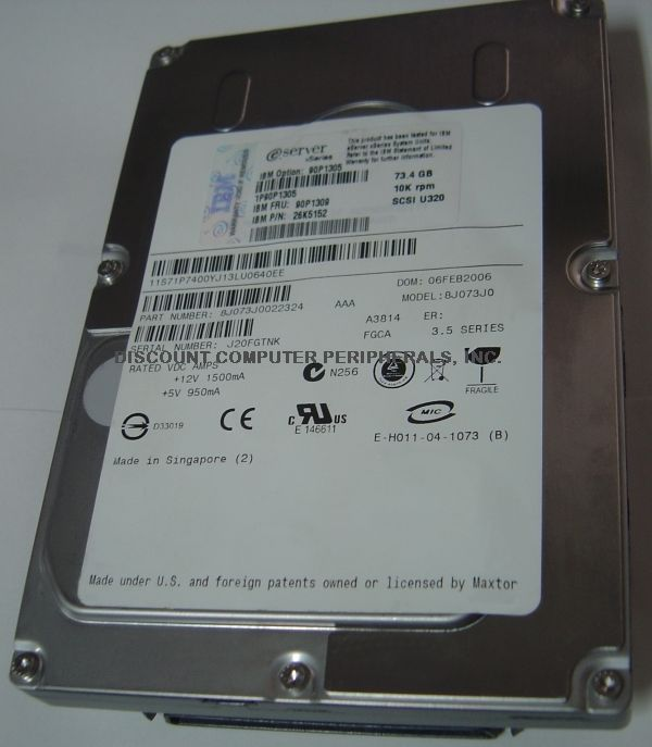 "73GB 10K RPM U320 SCSI 80 PIN 3.5"" Drive IBM 90P1305 Tested Good Free USA Ship"