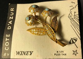 Vintage Turquoise Color Stone Flower Brooch / Pin Cote D'Azur - $7.92
