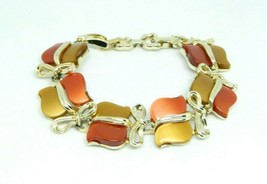 STAR Signed Red Brown Thermoset Gold Tone Bow Bracelet Vintage - $19.79