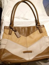 Tignanello  Nappa Leather Chevron Color Block Handbag - $19.79