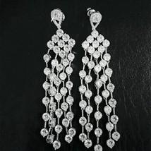 Women Bridal Dangle Earrings White Cut Cubic Zircon Long Tassel Sparkling   - $21.84