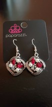 Paparazzi Earrings (New) Prestigious Shimmer Red Earring #5011 - $7.61