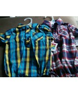 2 plaid boys longsleeved collared creepers  buttons & pockets 3 6 mo Chr... - $9.29