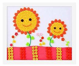 PANDA SUPERSTORE Cute Sunflower DIY Button Painting Mosaic Craft for Kids