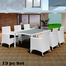 Patio White Dining Set Rattan Outdoor Garden Wicker Clearance Furniture ... - $954.07