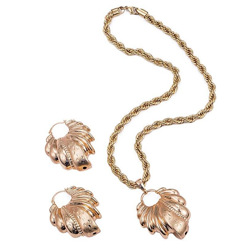 Ethlyn Nigerian/African Wedding Jewelry Set Hollow Leaf Pendant Necklace Earring
