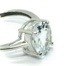 SOLID 18K WHITE GOLD RING with OVAL AQUAMARINE 2.6 Carats, SOLITAIRE image 2