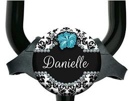 Adjustable Stethoscope Tag - Black and White Damask with Flower 8 Colors - Yoke