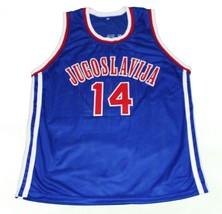 Dino Radja #14 Jugoslavija Yugoslavia Basketball Jersey New Sewn Blue Any Size image 4