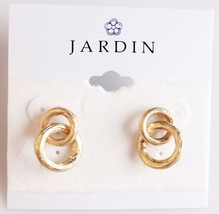 New Jardin Double Brushed Gold Plated Small Hoop Earrings NWT image 2