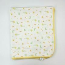 Vintage Carters Baby Blanket Owl Kangaroo Koala Ants Yellow White Cotton B74 - $14.99