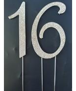 # 16 Rhinestone Crystal Cake Topper Silver Number Wedding Birthday Anniv... - $12.44