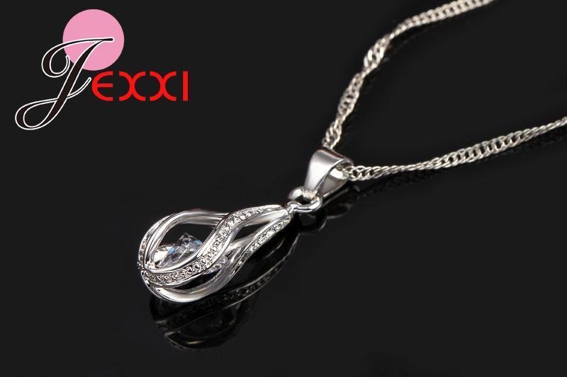 JEXXI 925 Sterling Silver Water Drop Theme Ladies Earrings & Pendant / Necklace