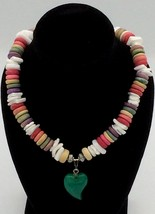 """New 16"""" Genuine Handcrafted Puka Shell Rainbow Beaded Necklace with Jade Pendant - $15.99"""