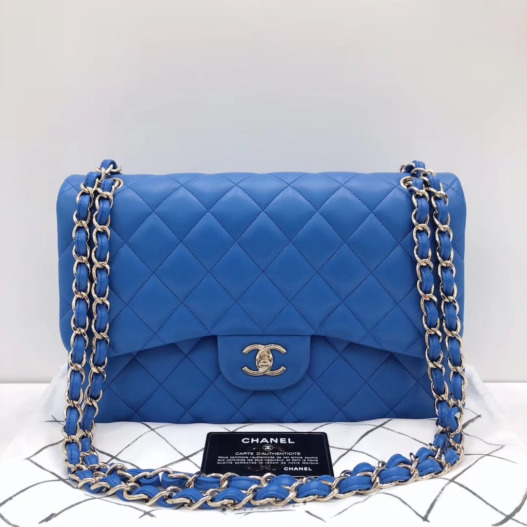 3947d9636c2c9e NEW Authentic Chanel BLUE QUILTED LAMBSKIN JUMBO CLASSIC DOUBLE FLAP ...