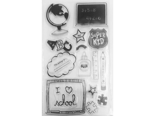 I Love School Clear Cling Stamp Set