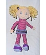 Eden Blonde Doll Pink Purple Stripes Yarn Hair Plush Stuffed Soft Toy - $24.73