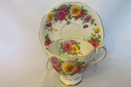 "Queen Anne English Bone China Cup & Saucer - ""Autumn Glory"" Pattern with... - $22.99"