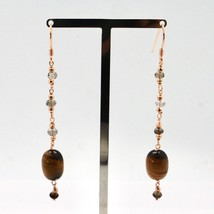 925 Silver Earrings Laminate Rose Gold with Tiger's Eye and Quartz image 2