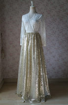 Gold Sequin Maxi Skirt Women Plus Size Sequin Maxi Skirt Sparkly Skirt image 6