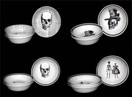 4 Victorian English Pottery or Royal Stafford Skulls Skeletons Cereal Bo... - $48.99