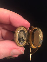 Victorian Woven Hair Mourning pocket watch fob with 2 sided locket image 4