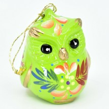 Handcrafted Painted Ceramic Green Owl Confetti Ornament Made in Peru image 1