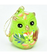 Handcrafted Painted Ceramic Green Owl Confetti Ornament Made in Peru - $15.83