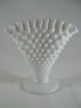 "Vtg FENTON White Milk Glass Fan Ruffle Top Hobnail 6"" VASE - $14.31"