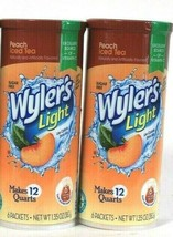 2 Wyler's Light 1.35 Oz Peach Iced Tea Sugar Free 6 Pitcher Packs Drink Mix - $17.99