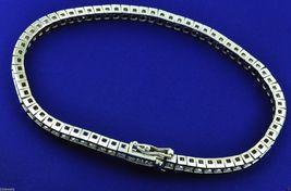 Solid 10k Gold Princess Cut White Diamond Tennis Bracelet Wedding Gift F... - $899.99