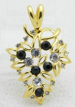 Bijoux Tempo Black Clear Rhinestone Flower Gold Tone Vintage Pendant - $29.69