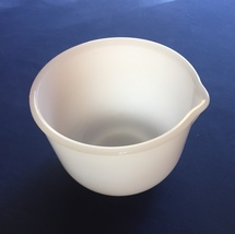 Vintage 70s Sunbeam milk glass GlasBake pouring bowl image 1