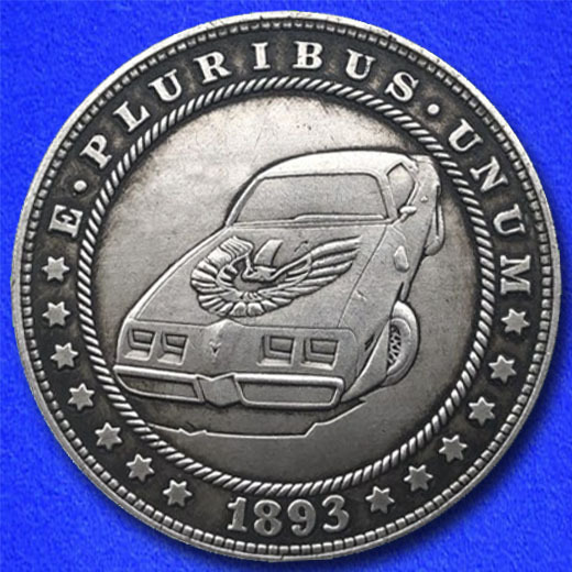 Pontiac firebird trans am car hobo nickel on morgan dollar coin obverse