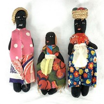 Vintage Jamaican Folk Art Handmade Handcrafted Cloth Rag Dolls Family Lo... - $42.75