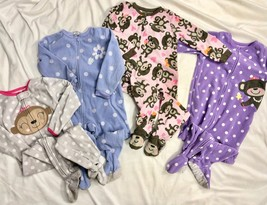 Carter's Fleece Sleepers Romper Pajamas Toddler Girls 2T Monkey Polka Dots  - $33.66