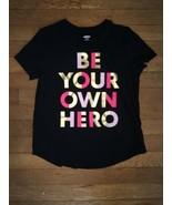 * old navy black hero graphic top tee shirt size large 10 - 12 girls - $3.96